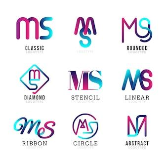 Набор шаблонов логотипов градиента ms