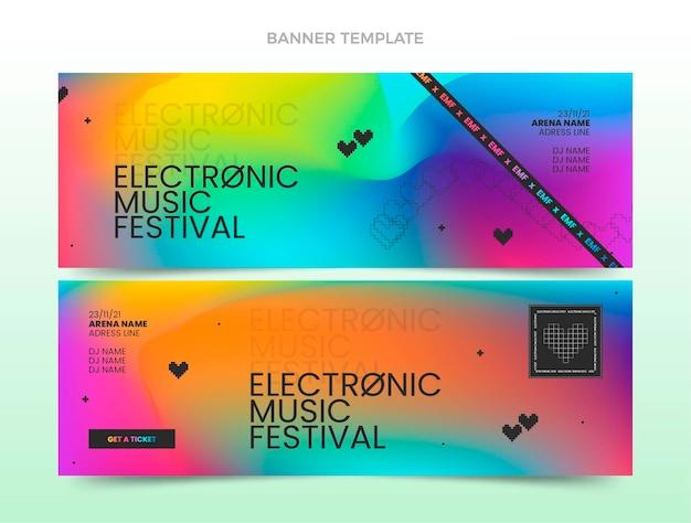 Фестиваль градиентной музыки горизонтальные баннеры