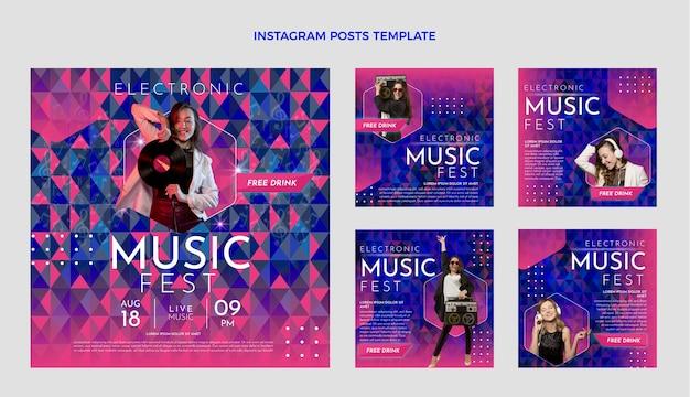 グラデーション音楽祭のinstagramの投稿 無料ベクター