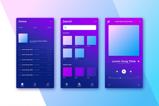 Gradient  music player user friendly interface