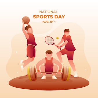 Gradient national sports day illustration