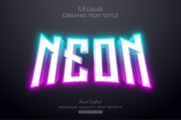 Gradient neon blue pink editable text effect font style