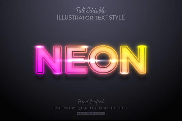 Gradient neon editable 3d text effect