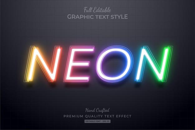 그라디언트 네온 편집 가능한 텍스트 효과 글꼴 스타일