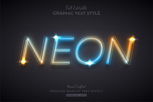 Gradient neon editable text effect font style