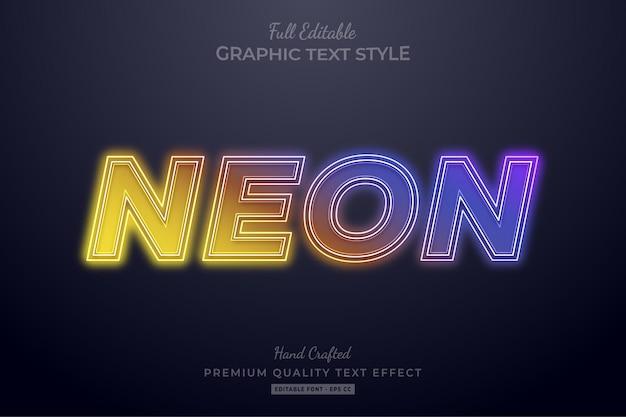 Gradient neon editable text effect font style