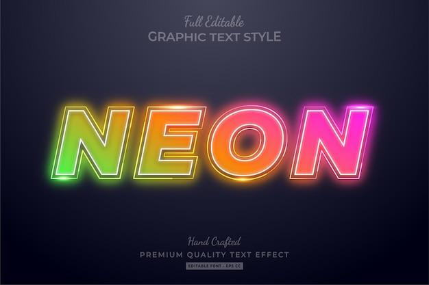 Стиль шрифта редактируемого текста с градиентным неоновым эффектом