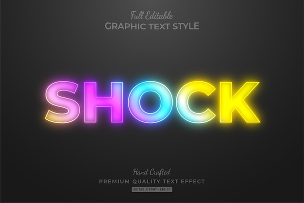 Gradient neon editable text style effect