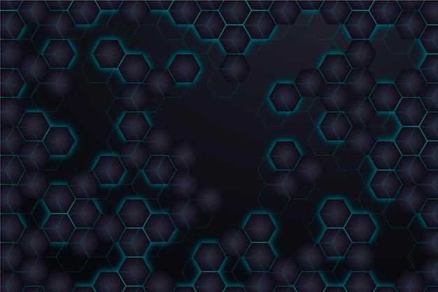 グラデーションネオン六角形の背景