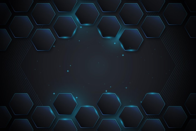 Gradient neon hexagonal background
