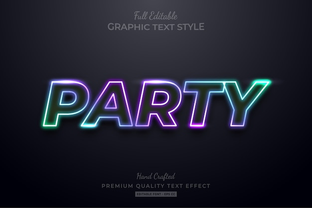 Gradient neon party editable text style effect premium