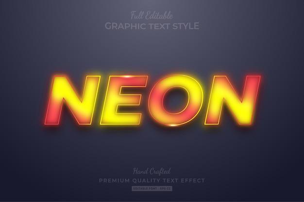 그라디언트 네온 노란색 빨간색 편집 가능한 텍스트 효과 글꼴 스타일