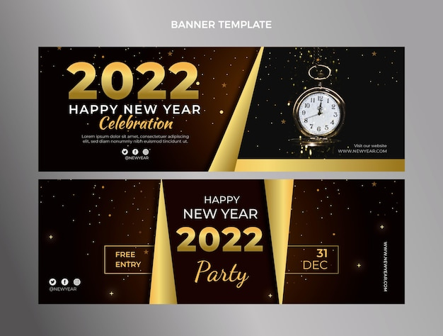 Gradient new year horizontal banners set