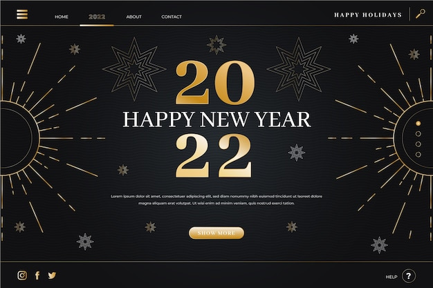 Gradient new year landing page template