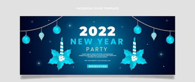 Gradient new year social media cover template