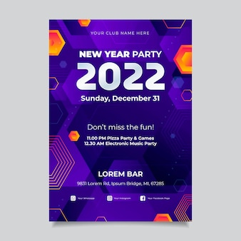 Gradient new year vertical poster template