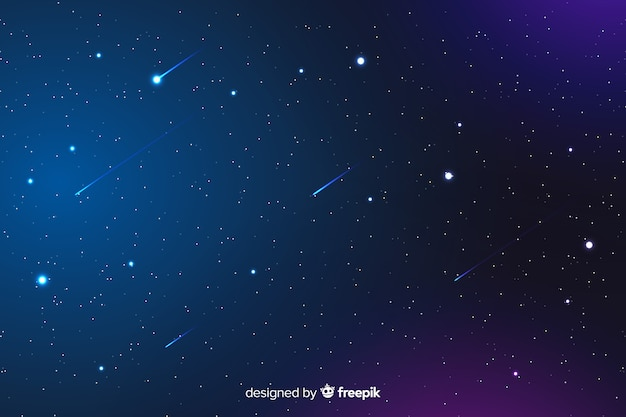 Gradient night background with falling stars