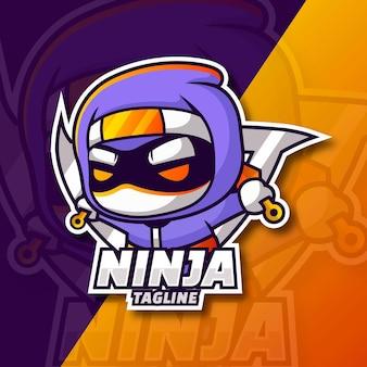 Шаблон логотипа градиент ниндзя