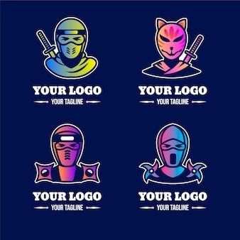 Шаблоны логотипов градиент ниндзя