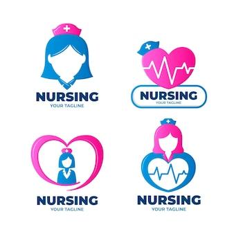 Коллекция шаблонов логотипов градиентной медсестры