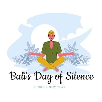 Gradient nyepi illustration with man meditating