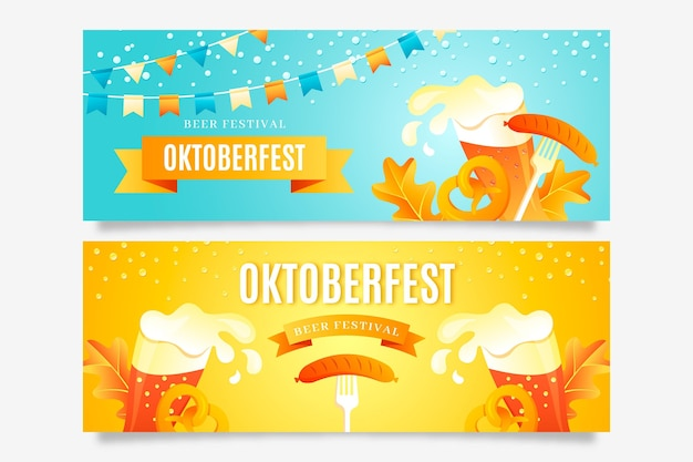 Gradient oktoberfest banners set