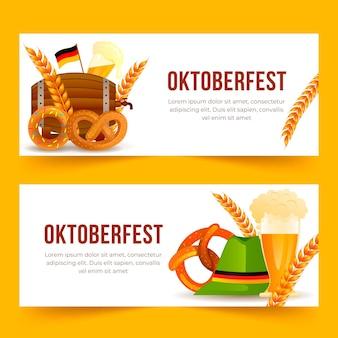 Gradient oktoberfest horizontal banners set