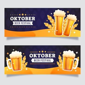 Set di banner orizzontali oktoberfest sfumati