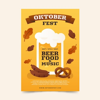 Gradient oktoberfest vertical flyer template