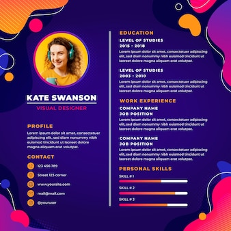 Gradient online cv template with photo