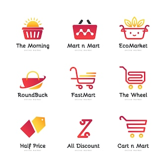 Gradient online shop logo collection