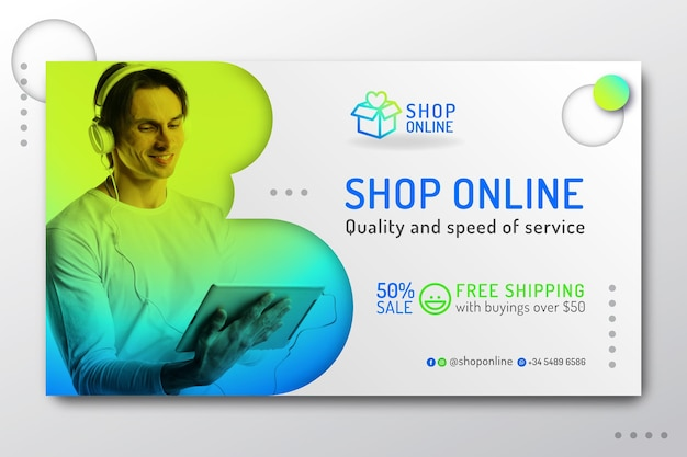 Gradient online shopping landing page
