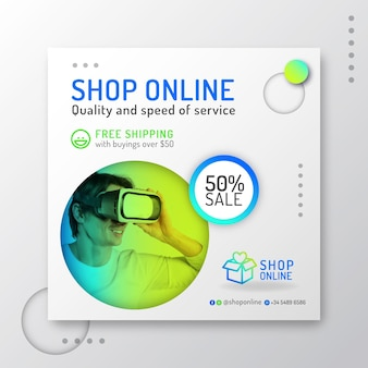 Gradient online shopping square flyer