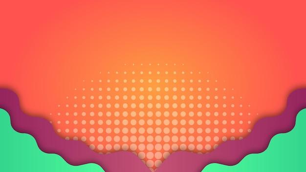 紫と緑の波のグラデーションオレンジの背景