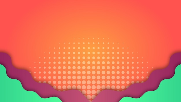 Gradient orange background with purple and green wave