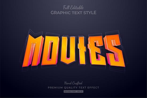 Gradient orange movies editable text effect