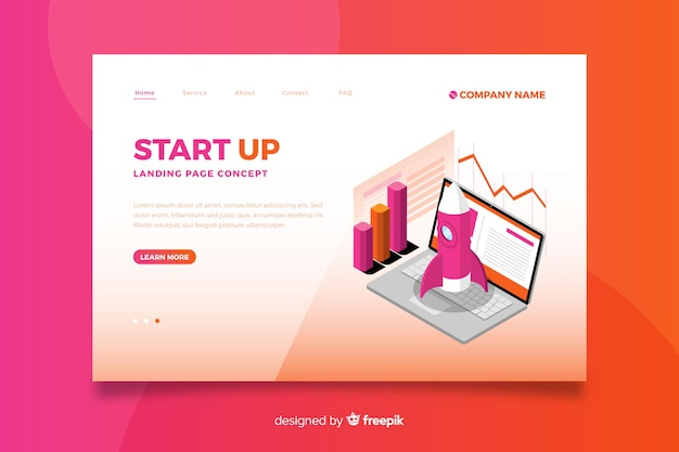 Gradient orange start up landing page