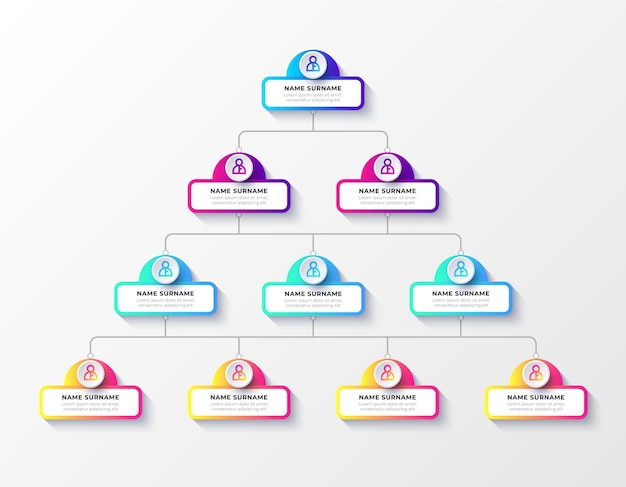 Градиент организационной диаграммы бизнес инфографики шаблон