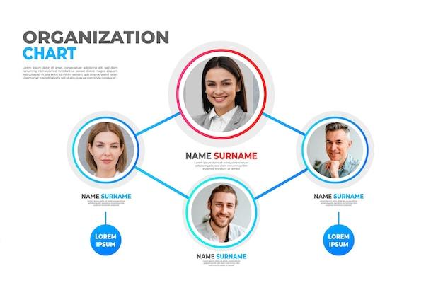 Infografica organigramma gradiente con foto
