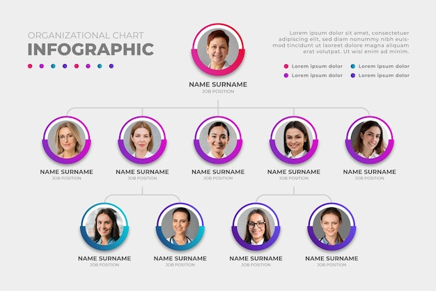 Gradient organizational chart infographic with photo