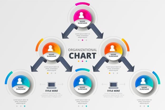 Infografica sull'organigramma a gradiente