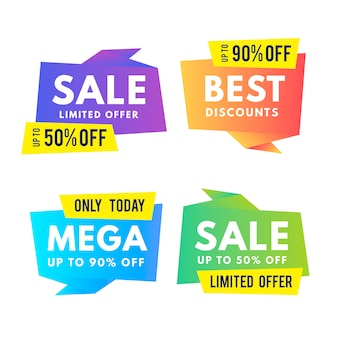 Gradient origami sale banner collection