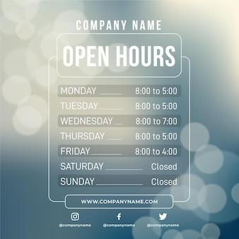 Orario di apertura aziendale ornamentale gradiente
