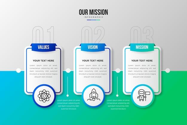 Градиентная инфографика нашей миссии Бесплатные векторы
