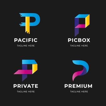 Collezione di logo lettera p gradiente