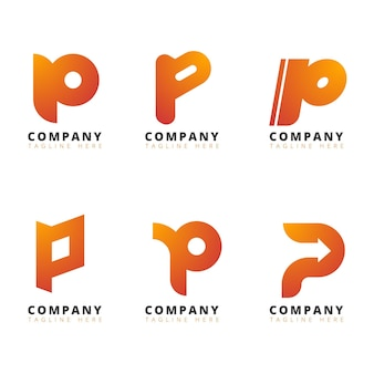 Gradient p logo collection