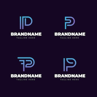 Gradient p logo template collection