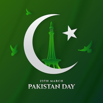 Gradient pakistan day illustration with flag and minar-e-pakistan monument