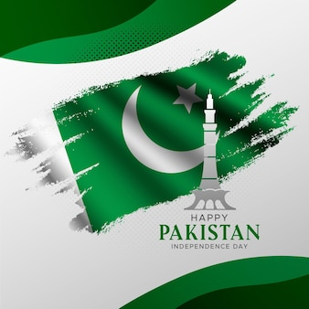 Gradient pakistan day illustration with minar-e-pakistan monument and flag