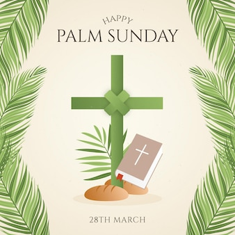 十字架とグラデーションの手のひらの日曜日のイラスト